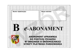"""Abonament typu """"B"""" za jeden miesiąc lub jego wielokrotność"""