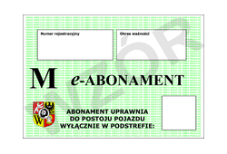 Abonament typu M na podstrefę VIII za jeden miesiąc lub jego wielokrotność - drugi pojazd